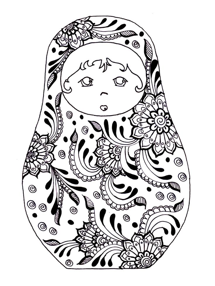 Free Printable Adult Colouring Page Russian Dolls Source