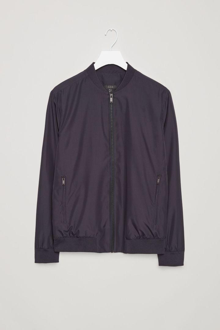 COS image 4 of Lightweight zip-up jacket in Navy