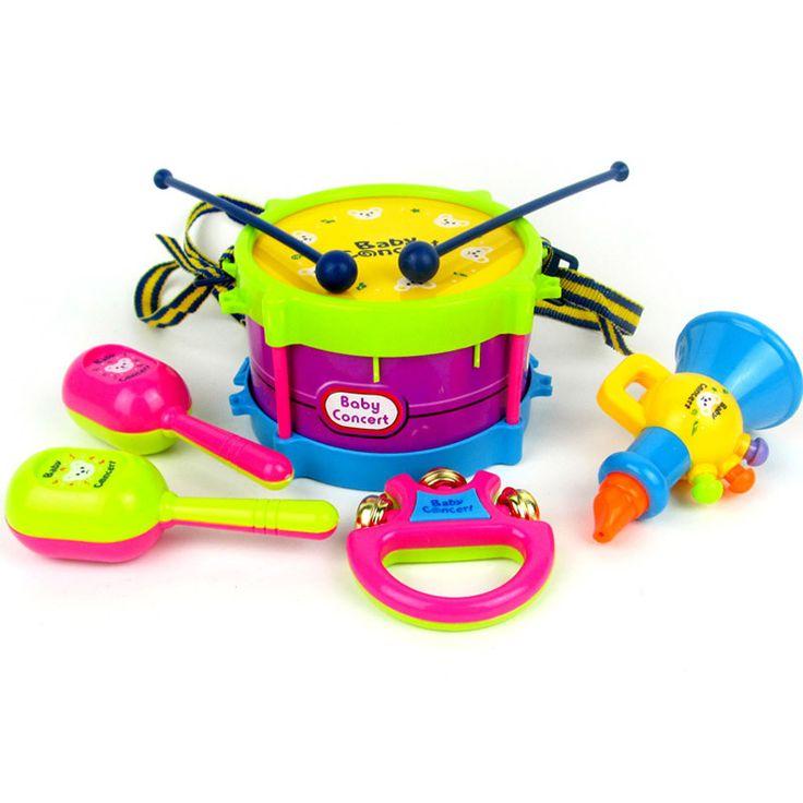 6ピース/セット子供の楽器の赤ちゃんガラガラシェイクベルリング子供早期学習おもちゃハンドビートドラムおもちゃのため幼児