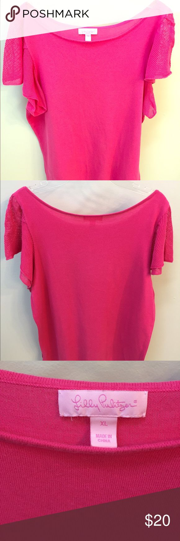 """Lilly Pulitzer's Briana Pink Short-Sleeve Top A top made for spring! Ruffle mesh sleeves with a long silhouette. Great to pair untucked with a belt or tucked into a high waist skirt. Approx. 25"""" from shoulder to hem. Size: XL. Great condition, only worn a few times. Lilly Pulitzer Tops Tees - Short Sleeve"""