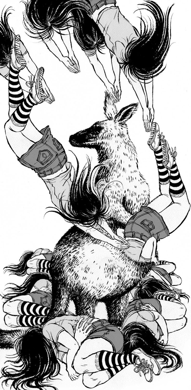kangaroo - Yuko Shimizu para ilustrar el cuento de Haruki Murakami Perfect Day for Kangaroos