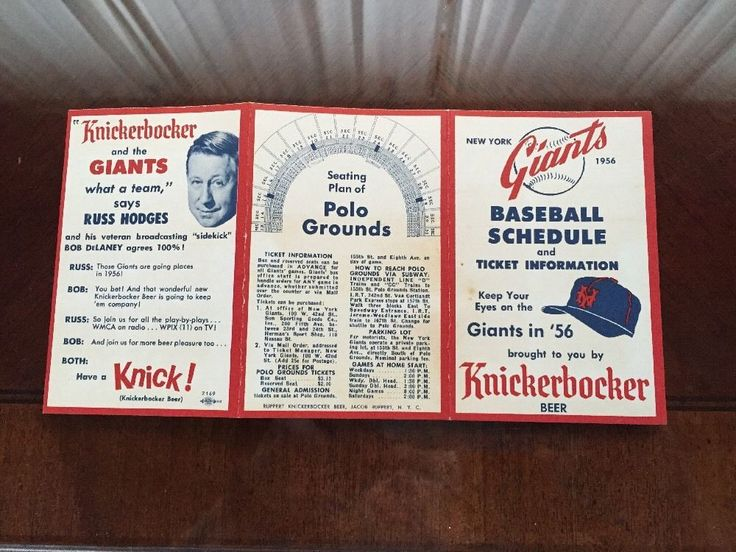 1956 New York Giants Baseball Schedule Knickerbocker Beer