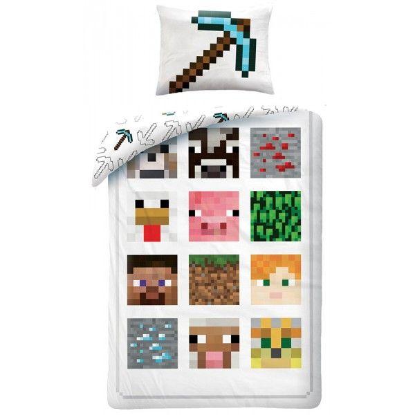 Minecraft sengetøj med forskellige motiver fra det populære spil. 100% bomuld