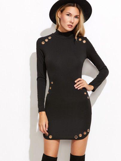 облегаюшее платье с металлической вставкой высокий воротник