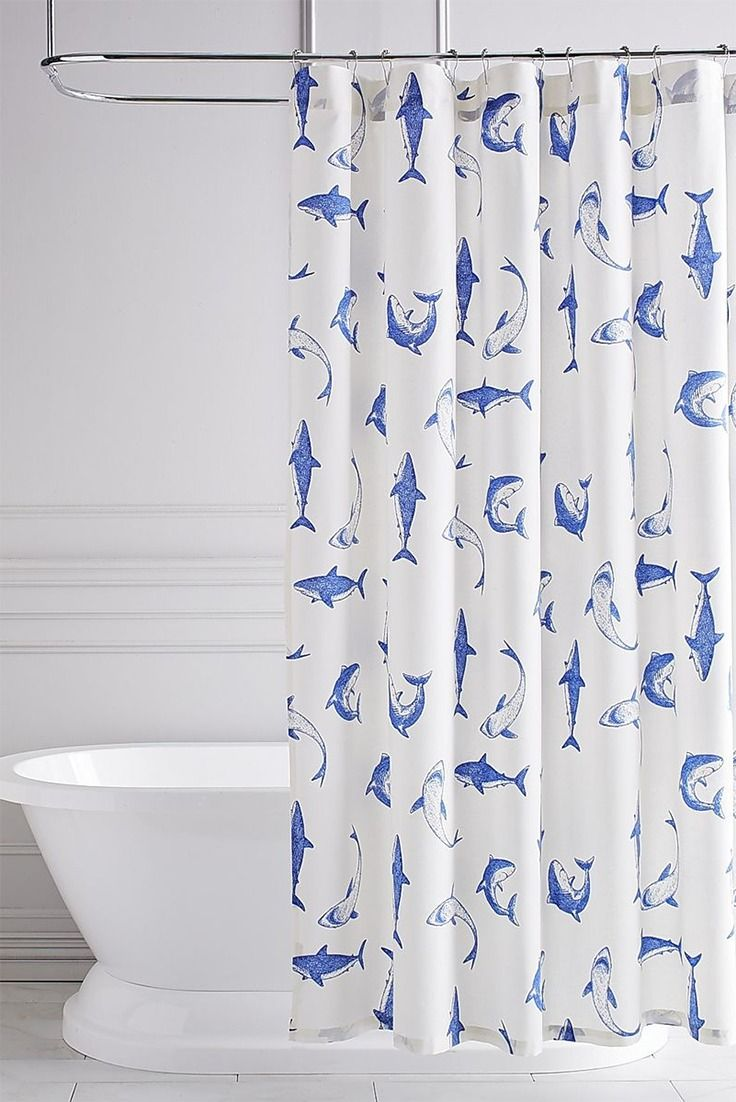Add a little element of danger to your wedding shower—and to your actual shower—by registering for this Shark Shower Curtain in the Pier 1 Imports Gift Registry, powered by myregistry.com. The cotton curtain brings whimsical, deep-sea style to your bathroom.