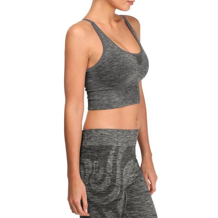 Deportes Fitness Ropa interior y térmica - Camiseta top corto Yoga+ mujer DOMYOS - Ropa interior y térmica