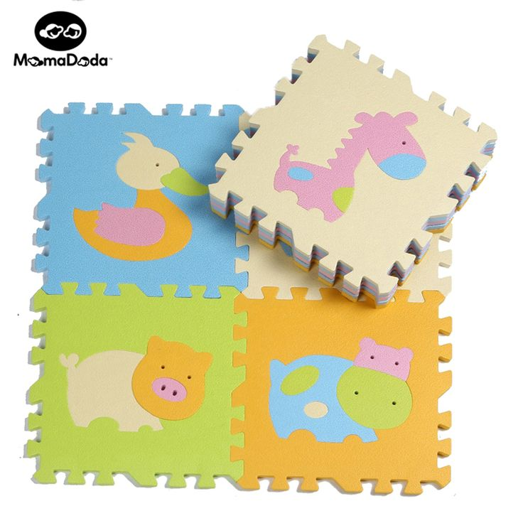 9 pcs Animal de Bande Dessinée Motif Tapis En Mousse EVA Puzzle Tapis Enfants Énigmes de sol Tapis de Jeu Pour Enfants Bébé Jouer Gym Ramper tapis