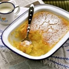 Lemon Self-Saucing pudding - great fun to make - especially with children? - will do again ...