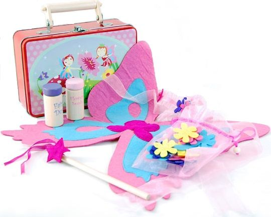 Fairy Dress up set in Carry Tin - $22 This is another of my favourite items! Comes in a tin carry case which children love & great for storage. This set contains - Set of felt fairy wings with straps, a wooden fairy wand, fairy headband, a drawstring bag with 16 felt flowers & 2 wooden 'fairy dust' bottles.  3yrs +