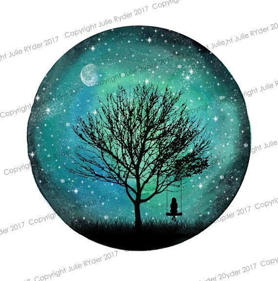 Galexy Girl Swinging Tattoo: Watercolour Print Of Green Blue Galaxy Sky With Moon