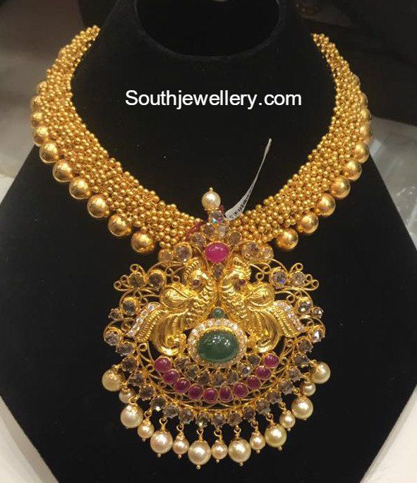 90 Grams 22 carat gold Antique Gajjalu Necklace with Peacock Pendant