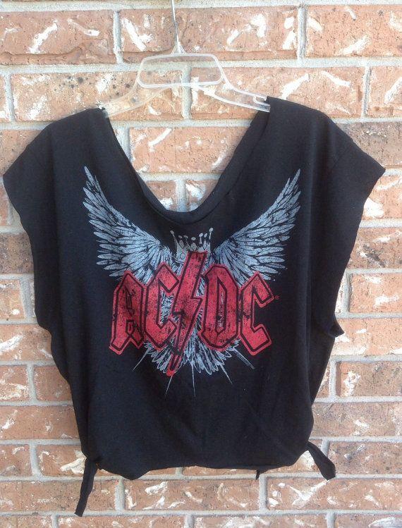 AC DC // band shirt // cut // raw edge//sliced by Cranberrymoons, $19.00