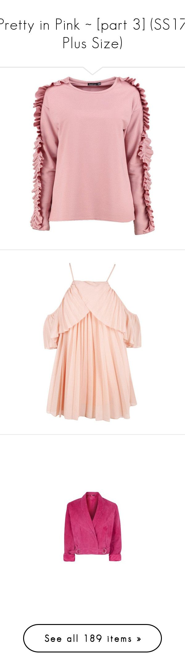 """""""Pretty in Pink ~ [part 3] (SS17 Plus Size)"""" by foolsuk ❤ liked on Polyvore featuring tops, hoodies, sweatshirts, crop top, pink sweatshirts, oversized off the shoulder sweatshirt, bralette crop top, pink off the shoulder top, off the shoulder crop top and polka dot crop top"""