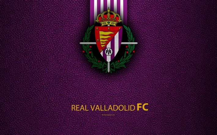 Download wallpapers Real Valladolid FC, 4K, Spanish Football Club, leather texture, logo, LaLiga2, Segunda Division, Valladolid, Spain, Second Division, football