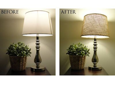 Covering a lamp shade with burlap. Need to find something to do with all the burlap left over from the wedding!