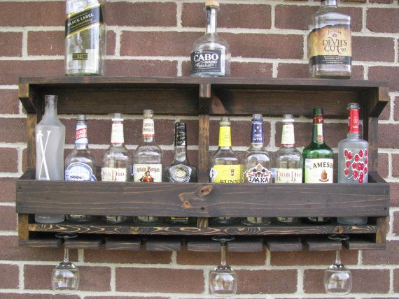 Rustic Hanging Liquor Rack Hanging Wine By CoolAndUsefulThings