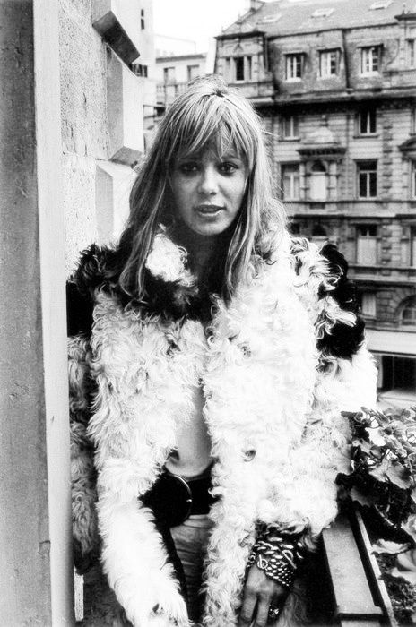 Anita Pallenberg. Love the fur look (I go faux) and the stacked bracelets. #moreismore