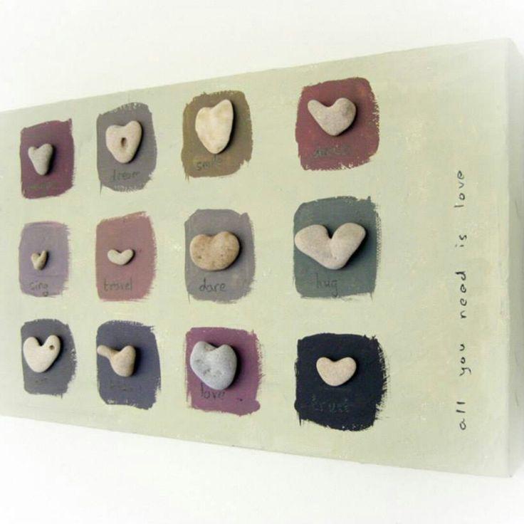 Unique Home decor – Pebble Art – Stones Art – Beach Rocks Art, OOAK House Blessings, genuine Heart shaped Beach stones rocks, Hebrew Letters – Sonnenschein