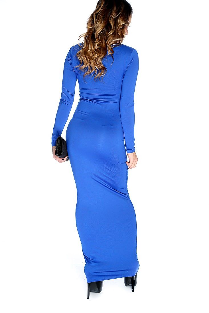 Royal Blue Long Sleeves Bodycon Maxi Dress