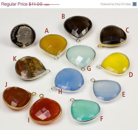 ON SALE Aqua Chalcedony Pendant Large Heart Lemon by rocksamillion, $9.35