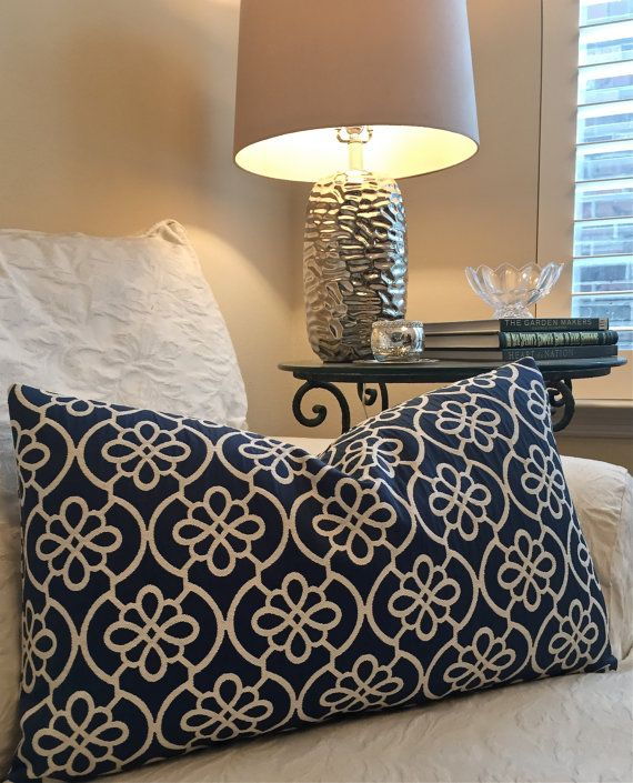 blue and ivory decorative pillow by on etsy sofa