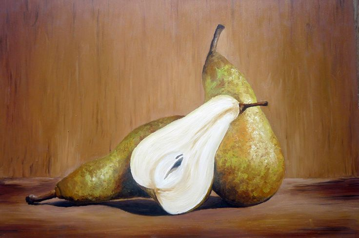 Pears, still life, oil painting