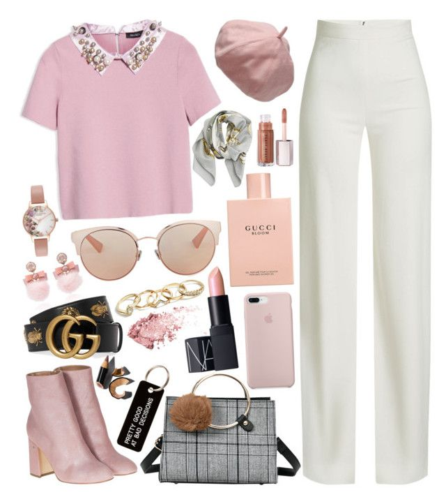Untitled #774 by natallie on Polyvore featuring polyvore, fashion, style, Max&Co., Brandon Maxwell, Laurence Dacade, Ranjana Khan, Olivia Burton, GUESS, Gucci, Christian Dior, Hermès, Various Projects, NARS Cosmetics, Bobbi Brown Cosmetics and clothing