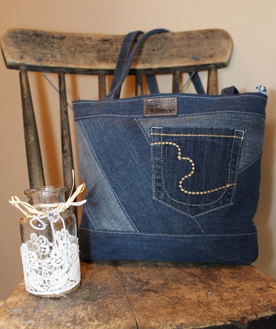 Wij eisen  Upcycled denim handtas Sur request  handtas