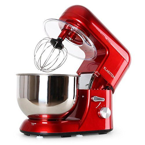 Klarstein Bella Rossa – Robot de cuisine multifonction – robot patissier tout-en-un : fouet, pétrin, crochet… (1200W, bol mélangeur en inox…