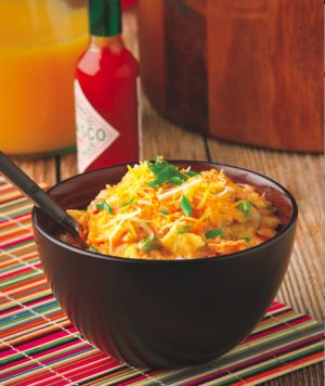"Red and Green Breakfast Egg Casserole - ""The Crockin' Girls"""