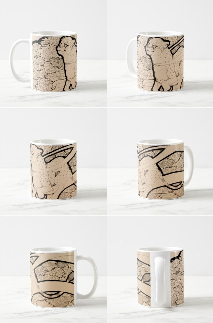 """""""Moving Slow"""" Black and White Illustrated Cheetah Coffee Mug #art #illustration #products #gifts #sepia"""