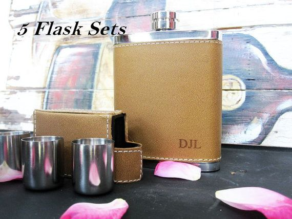 Set of 5 Custom Engraved Leather Hip Flasks for by AwardSourceLLC