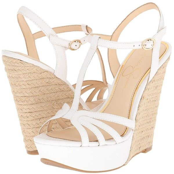 Jessica Simpson Bevin (Powder Embossed Reptile) Women's Wedge Shoes ($71) ❤ liked on Polyvore featuring shoes, sandals, white, wedges shoes, t strap sandals, jessica simpson sandals, white wedge shoes and open toe wedge sandals
