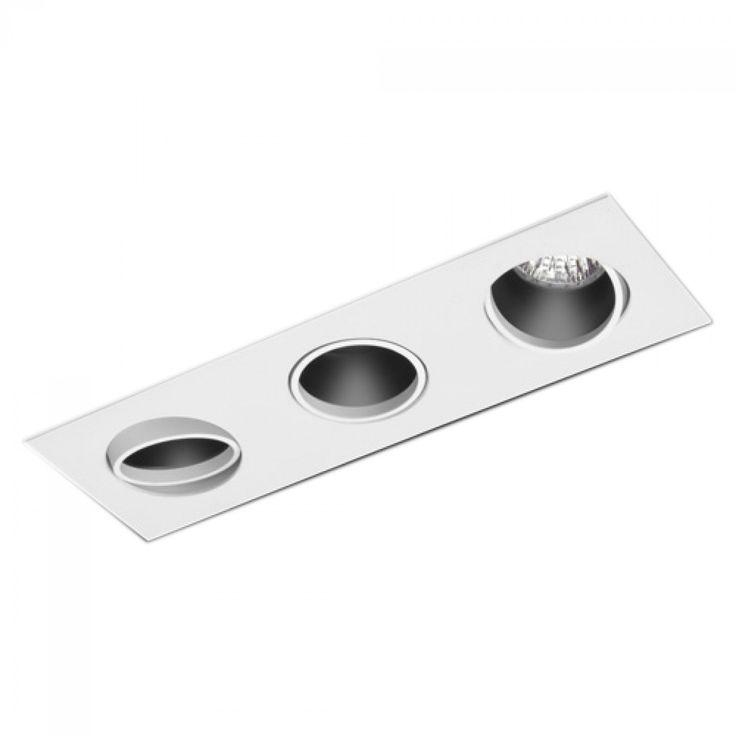 Spot triplo embutir direcionável (R$ 74,90 - Dr. LUX) - Dimensões 10,5cm(L)x4cm(A)x32cm(P) - Potência Máxima :50W (por lâmpada)   - Material: Alumínio injetado (branco fosco)  - Foco - Basculante 360°  - Lâmpada Compatível Dicroica (Lâmpada não Inclusa) - Soquetes GU10 e GU5.3 (bipino)