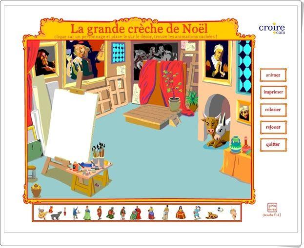"""""""Le grand crèche de Noël"""", de croire.com, es un bonito Portal de Belén francés (parece como del siglo XVII por las pinturas que recuerdan a Rembrandt) que ha de ser compuesto con las figuras adecuadas y puede ser animado. Además, otro modelo puede ser coloreado y se puede imprimir."""