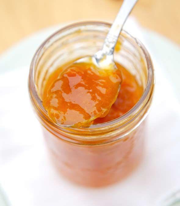 Apricot Jam Recipe - apricots, lemon juice, sugar - water bath 10 minutes