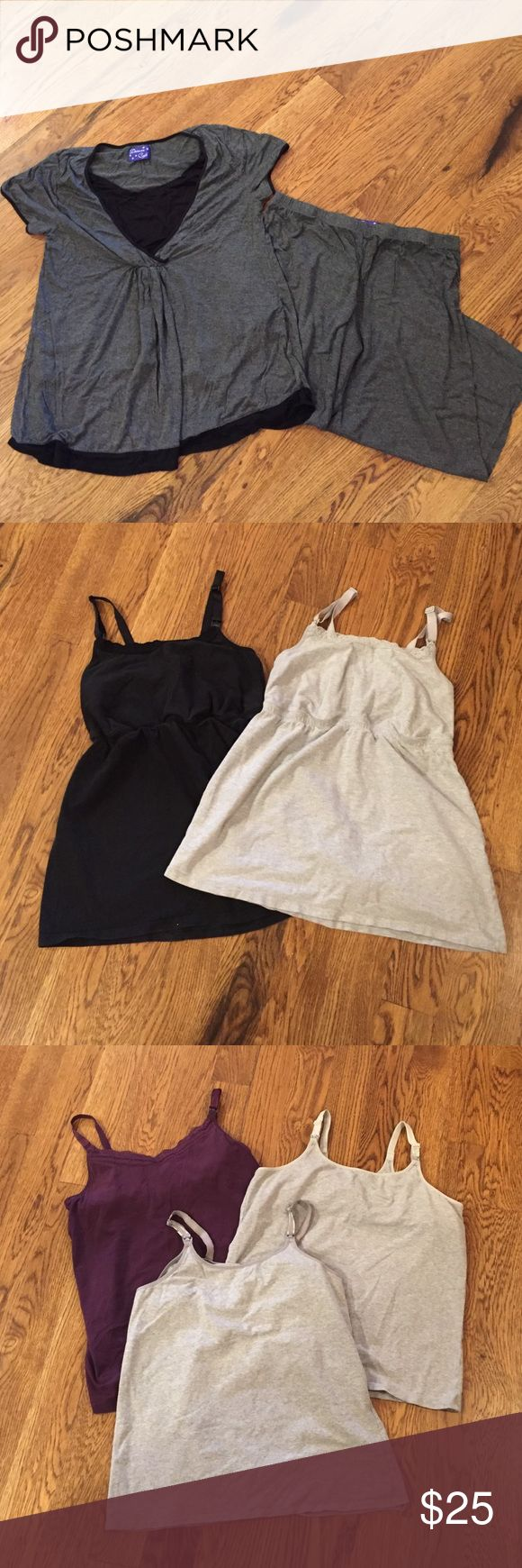 Nursing tops pajama set and lot of 5 nursing camis Black and gray nursing top pajamas with elastic waist Capri bottoms- size medium 8/10, fits more like a large. Worn only once. 5 nursing camis- all size large. All in great gently used condition. No stains or visible wear. Pet free/smoke free home. Intimates & Sleepwear