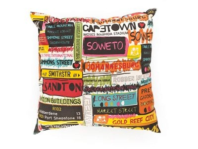 Afro Optomist cushion. From Mr. Price Home.