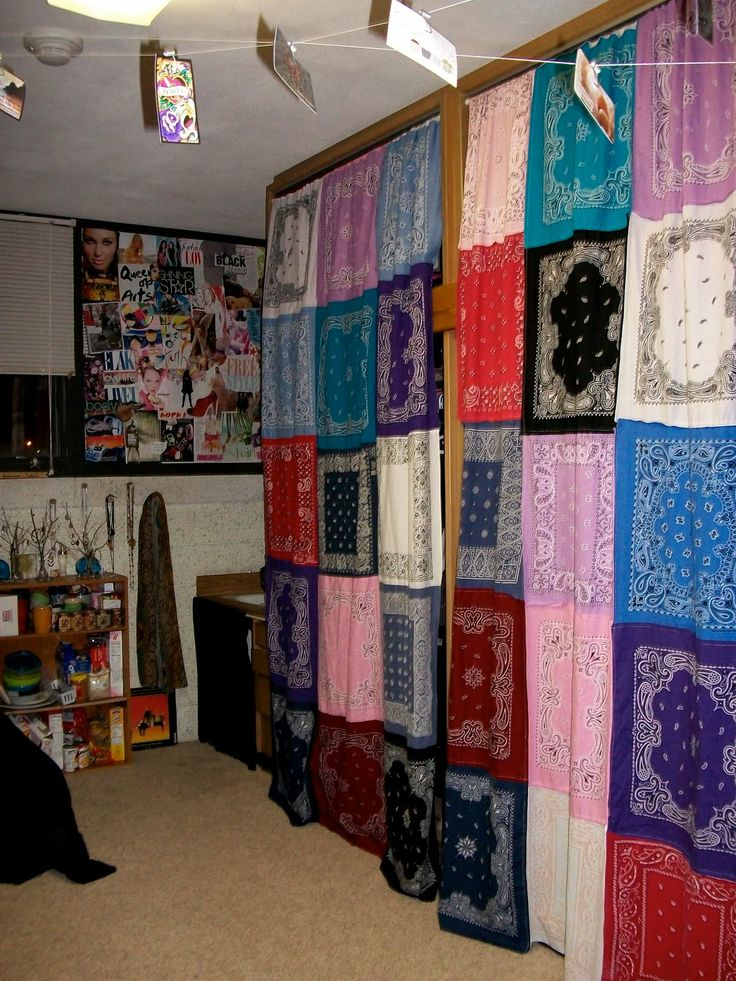 bandana curtins,cool idea... All one color would be cute or dark and light mixed