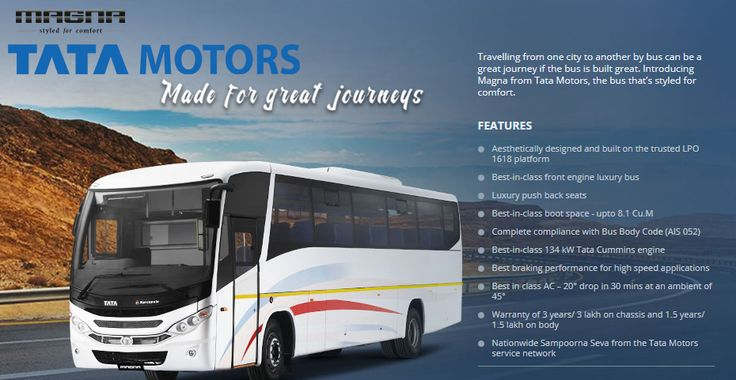 Buszone - Travelling from one city to another by #bus can be a great journey if the bus is built great. Introducing #Magna from #Tata Motors, the bus that's styled for comfort.  Tata Motors, Buszone Chennai, Buszone http://buszone.co.in/tata-motors/buszone-magna-made-for-great-journeys/