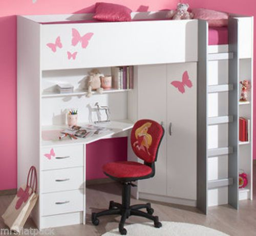 CABIN BED + DESK + WARDROBE HIGH SLEEPER WHITE (Optional ...