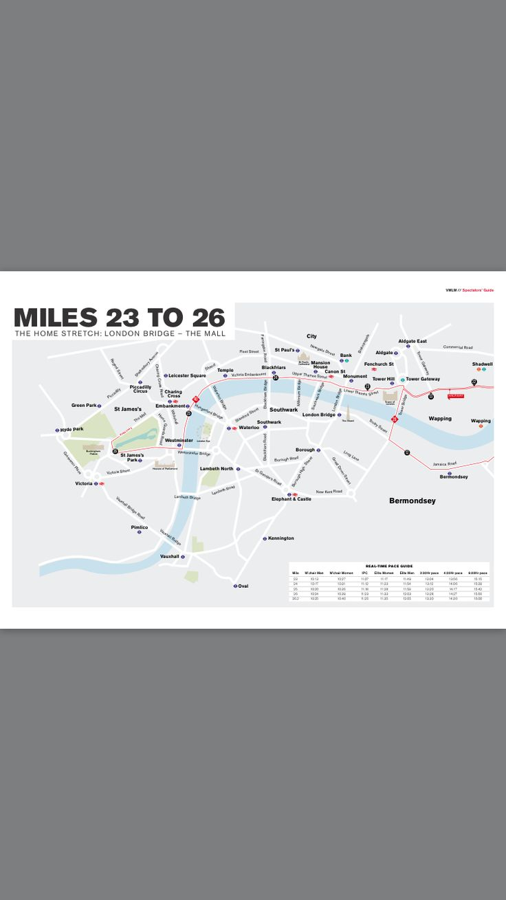 London Marathon 2017 Course Map 3