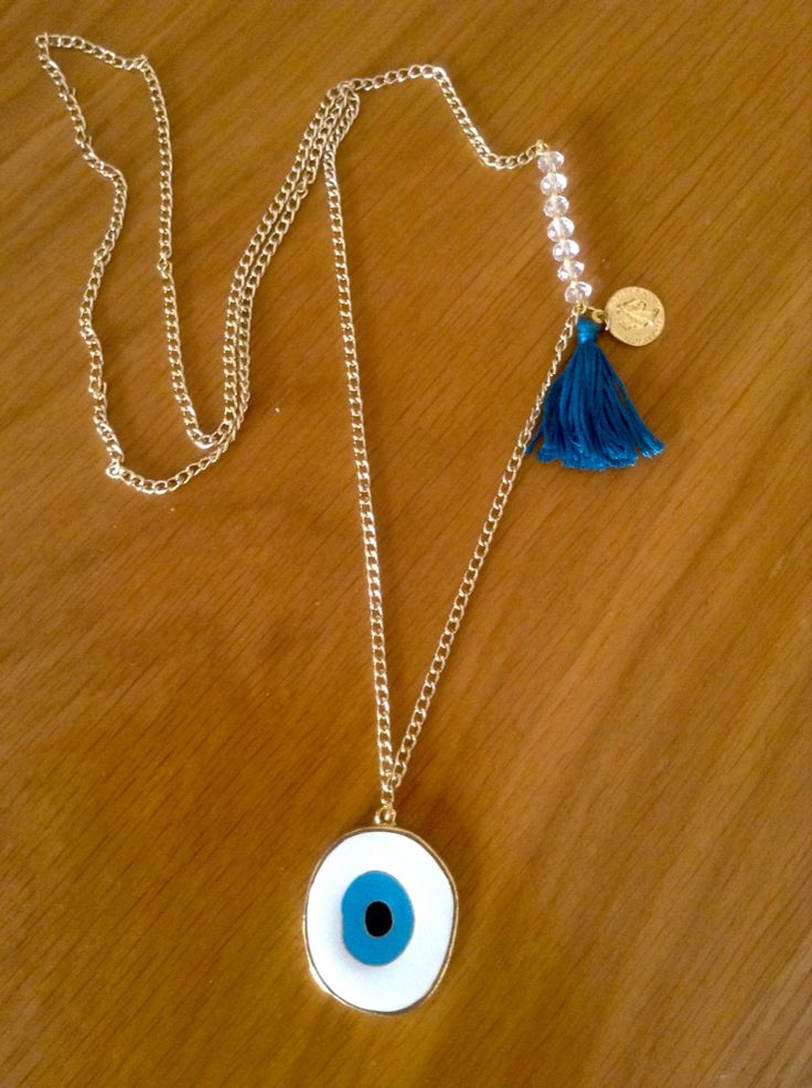 New necklace with evil eye and blue tassel