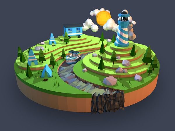 Low Poly Camping Landscape