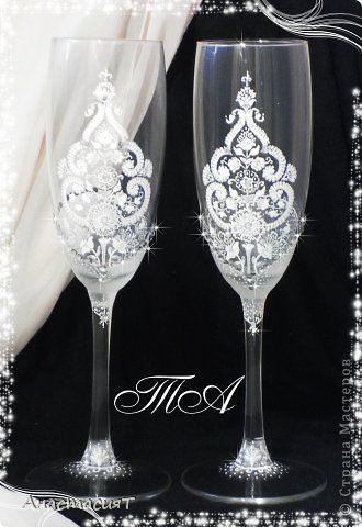 Декор предметов Свадьба Роспись Свадебные бокалы Зимний восток  фото 1