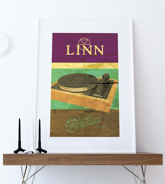 Linn Sondek LP12 Audiophile Turntable Poster Original Illustration Vintage Ad Style Giclee Print on Paper Canvas Poster Wall Decor Here's our #linnsondeklp12 #turntable iconic #audiophile #print