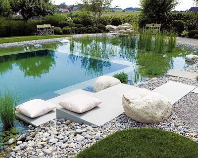 """Natural swimming pool.  """"An alternative to chlorine-filled cement watering holes, the natural pool relies on a plant-based mini-ecosystem to regulate water's proper balance. In fact, the water in a properly maintained natural pool is potable and eliminates the need for an after-swim shower..."""" via the awesome @RainaCox and blog, If The Lamp Shade Fits"""