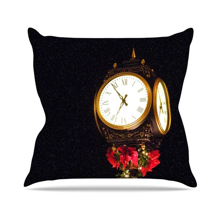 Xmas Clock Seasonal Throw Pillow