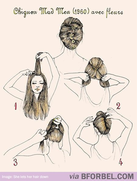 """b for bel: Awesome Hair: The """"Mad Men"""" Chignon Bun #tutorial"""