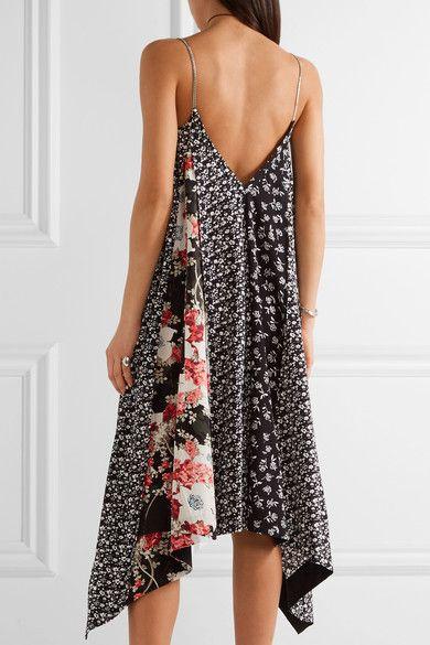 rag & bone - Londar Asymmetric Floral-print Crepe Midi Dress - Black - xx small